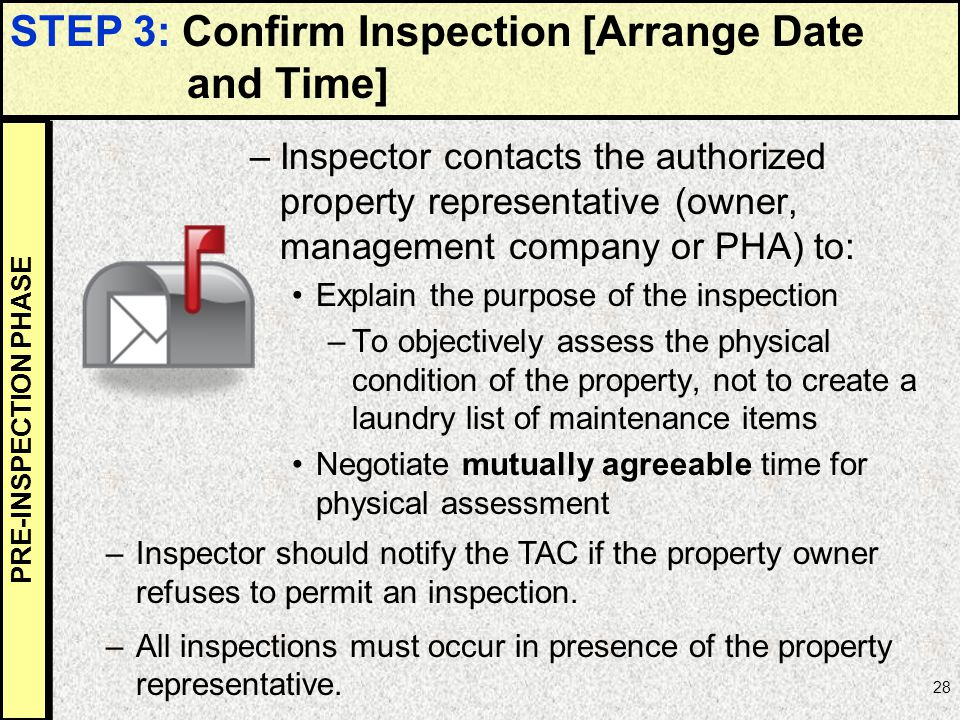 STEP 3: Confirm Inspection [Arrange Date and Time]